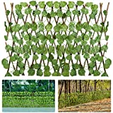 4 Pack Expandable Artificial Ivy Privacy Screen Fence- Retractable Fence Panel with Faux Leaves Green Zip Ties Decorative Nature Wood Trellis Fence Greenery Wall for Outdoor Backyard Home Decors