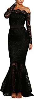 Maketina Women's Floral Lace Long Sleeve Off Shoulder Wedding Mermaid Dress