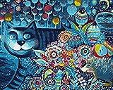 N/O Pintura por números para Adultos Niños DIY Pintura al óleo Kit Gato Abstracto 40 x 50cm con Marco Lienzo Pintura Arte Decoraciones para el hogar Regalos