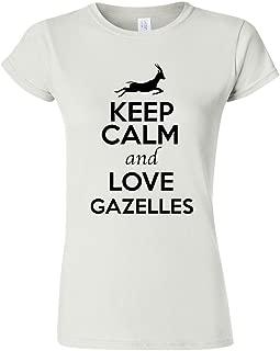 Junior Keep Calm and Love Gazelles Animal Lover Humor T-Shirt Tee