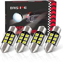 "BRISHINE 4pcs DE3175 LED Bulbs, Super Bright 2835 Chipsets Canbus Error Free 31MM 1.25"" Festoon DE3021 DE3022 3175 6428 LED Bulbs for Interior Dome Map Door Courtesy License Plate Lights, Xenon White"