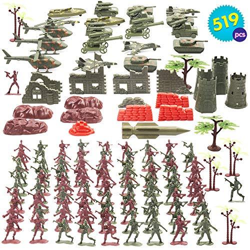 ÉNORME Ensemble de Jouets Militaires 519 Pièces - Inclut des Figurines de Soldats, des Accessoires Militaires, des Chars d'Assaut - Un Ensemble Divertissant et Amusant pour Tous les Enfants