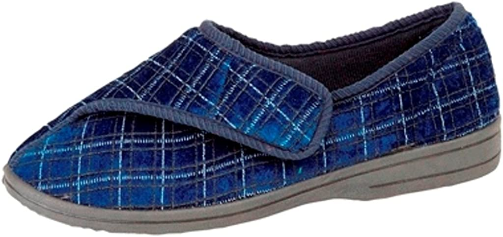 Zedzzz Great interest Selling and selling Mens George Touch Fastening Check Velour Slippers