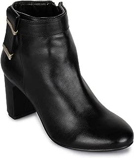 Bruno Manetti Women Faux Leather Black Heel Boots