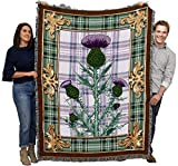 Scotland - National Flower The Flowering Thistle - Cotton Woven Blanket Throw - Made in The USA (72x54)