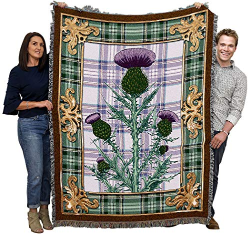 Flowering Thistle National Flower of Scotland Blanket Throw Woven from Cotton - Made in The USA (72x54)