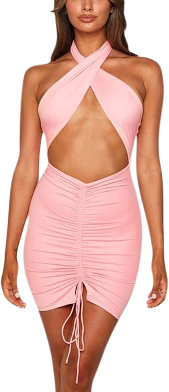 Women Sexy Mini Crisscross Dress Halter Self Tie Hollow Out Backless Bodycon Drawstring Party Cocktail Dress