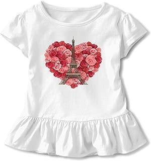 Floral Eiffel Tower Children Short Sleeve Dress 100% Cotton Ruffled Sleeve Dress Dress Flounce