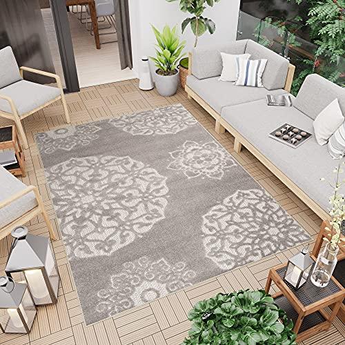 TAPISO Patio Teppich Terrasse Matte Küche Wohnzimmer Outdoor Indoor Modern Design 3D Beige Dunkelgrau Blumen Ornament Sisal Strapazierfähig 120 x 170 cm