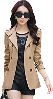 Tanming Women's Lapel Double Breasted Short Trench Coat Jacket