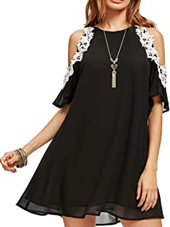 93143a3783 Aofur Women's Summer Cold Shoulder Tunic Top Dresses Loose Chiffon Casual  Short Sleeve Swing T Shirt