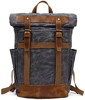 Waterproof Waxed Canvas with Leather Trim Mens Backpack Large-Capacity Casual Fashion Backpack (Color : Gray, Size : 31 * 12 * 48cm)