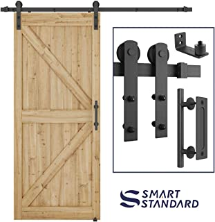 6.6 FT Heavy Duty Sturdy Sliding Barn Door Hardware Kit, 6.6FT Double Rail, Black, (Whole Set Includes 1x Pull Handle Set & 1x Floor Guide) Fit 36