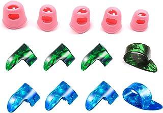 Adaskala 5pcs Guitar Silicone Finger Portectors 8pcs Celluloid Thumb Fingerpicks for Guitar Ukulele Banjos Accessories