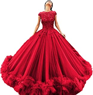 Women's Tulle Beaded Quinceanera Dresses Lace Appliques Cap Sleeves Ball Gowns