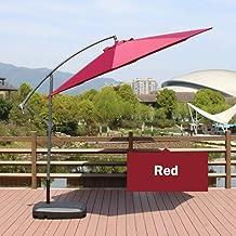 Patio Umbrella Parasol Cantilever Umbrella, 3m/8 Ribs/Crank/Button tilt / 250 g Polyester Cloth/Water Injection Base