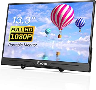 """Eyoyo 13.3"""" inch Portable HDMI Monitor Second Screen Monitor for Laptop PC 1920x1080 with USB-C & HDMI Inputs Compatible with Smartphone, HDMI Gaming Consoles"""