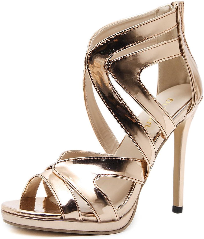 MODEOK Hollow Stiletto Sexy Women Sandals Leak Toe high Heels Back Zipper