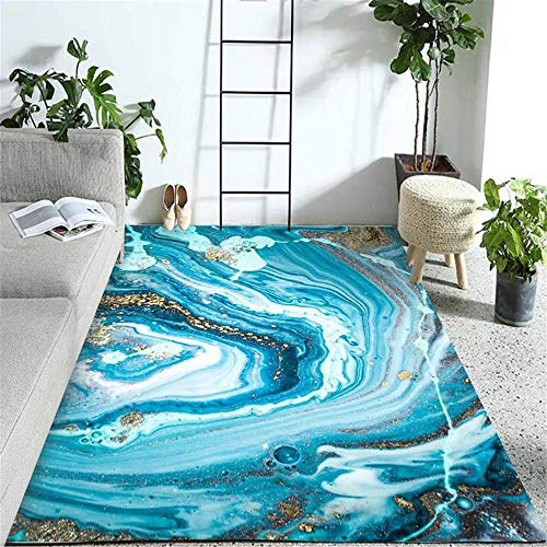 Kunsen alfombras recibidor Alfombra Antideslizante Sala de Estar Sala de niños Alfombra Rectangular Azul Antideslizante Lavable a máquina alfombras Exterior Jardin 180X280CM 5ft 10.9' X9ft 2.2'