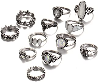 12pcs Vintage Exaggerated Hollow Carved Gem Combination Ring Set