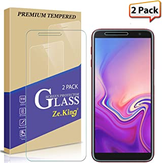 [2-Pack] Screen Protector for Samsung Galaxy J6 Plus, Zeking Tempered Glass [HD-Clear][Anti-Scratch] Bubble Free, Lifetime Replacement Warranty