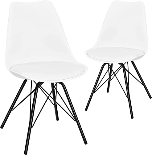 lowest Giantex Set of 2 Dining Chairs, Modern DSW Dining Side Chair w/Soft Padded PU 2021 Seat, Steel Legs, Stylish wholesale Shell Tulip Armless Kitchen Chair for Coffee Shop, Living Room, White outlet online sale