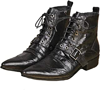 Cover Plus Size 5-12 All Black Genuine Leather Dress Zipper High Top Ankle Boots Pointed Toe Mens Shoes