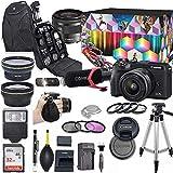 Canon EOS M6 Mark II Mirrorless Digital Camera with 15-45mm Lens Kit (Black) + Wide Angle Lens + 2X Telephoto Lens + Flash + SanDisk 32GB Memory + Commander Optics Accessory Bundle