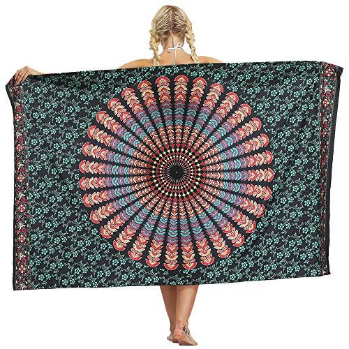 Nuofengkudu Frau Sarong Rock Hippie Floral Bedruckte Bikini Cover up Strandkleid Lange Wrap Urlaub Party Strand Outfits Strandtuch