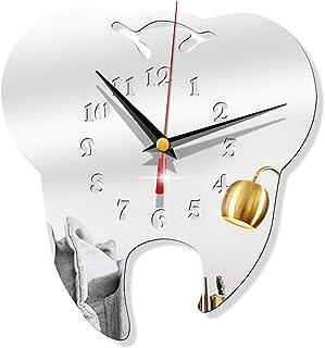 3D Creative Teeth Acrylic Mirror Wall Clock, Home Decoration Dental Wall Clock, for Office, Living Room, Bedroom,Silver