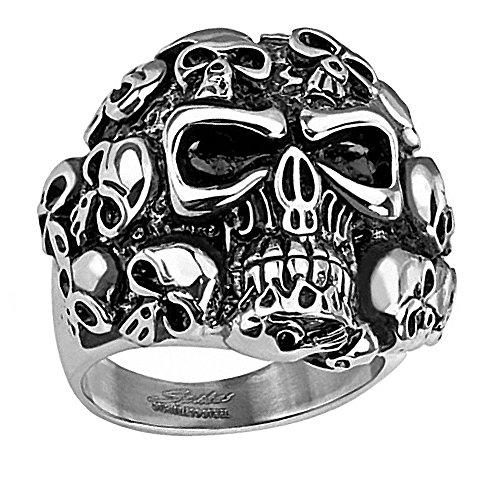 Piersando Herren Ring Edelstahl Massiv Breit Herrenring Fingerring Männer Biker Rocker Silber mit Totenköpfen Größe 66 (21.0)