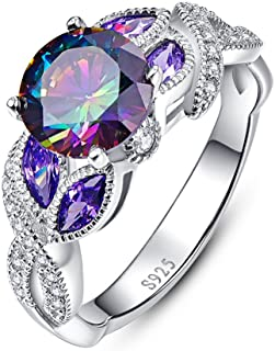 BONLAVIE Engagement Anniversary Ring with 3.6ct Created Rainbow Topaz Cubic Zirconia 925 Sterling Silver