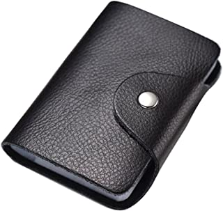 Lovein Soft Leather Credit Card Holder Wallet Pocket ID Business Card Case Purse Black