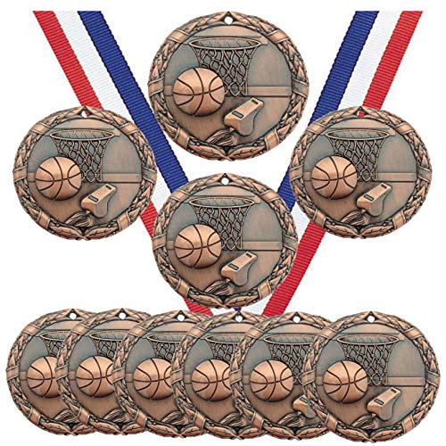 Bronze Basketball Medals Trophy Champion Participant Award Prize with Neck Ribbons (Pack of 10)