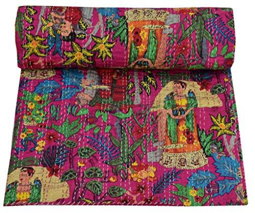 Colcha de algodón con estampado de Frida Kahlo Kantha, hecha a mano, hecha a mano, Kantha, Kantha, para decoración de cama, estilo étnico, color rosa fucsia, 108108 pulgadas