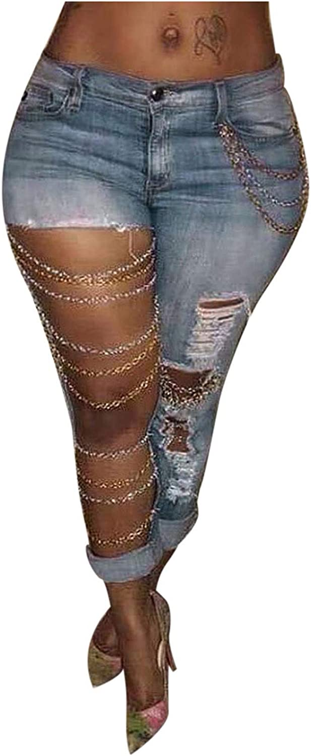 Women's Stylish Pencil Jeans Pants Trendy Chain Stitching Big Hole Ripped Jeans for Women