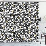 Ambesonne Duschvorhang, Silhouette, Blumenmuster mit bunten Cartoon-Bienen fliegen in Botanischer Natur, Stoffstoff, Badezimmer-Dekorationsset mit Haken, 198 cm lang, schwarz weiß & gelb