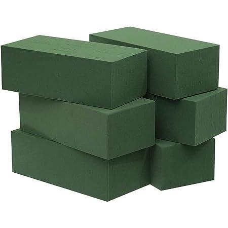 Crafare 6pc Wet Floral Foam Bricks Green Florist Styrofoam Blocks for Spring Fresh Flower Arrangement and Crafts Supply