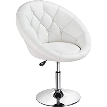 Amazon Com Round Tufted Swivel Chair White And Chrome Furniture Decor