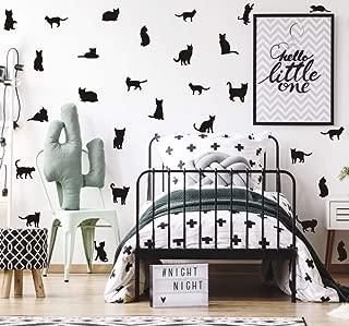 TOARTi Black Cats Wall Decal, Minimalist Animal Silhouette Wall Sticker for Kids Nursery Decoration, Pet Lover Home Wall Art (32pcs)