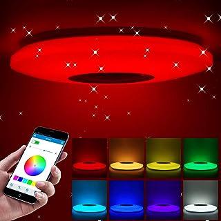 ShangSky - Lámpara de techo led regulable, altavoz RGB con Bluetooth, música para dormitorio, con aplicación a distancia, para habitación de los niños, regalo, Blanco, 185-265v 40cm 36w,Typ 2