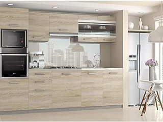 Hucoco LEXHAM | Cuisine Complète Modulaire Linéaire L 240cm 7 pcs | Plan de Travail Inclus | Ensemble armoires Meubles Cui...