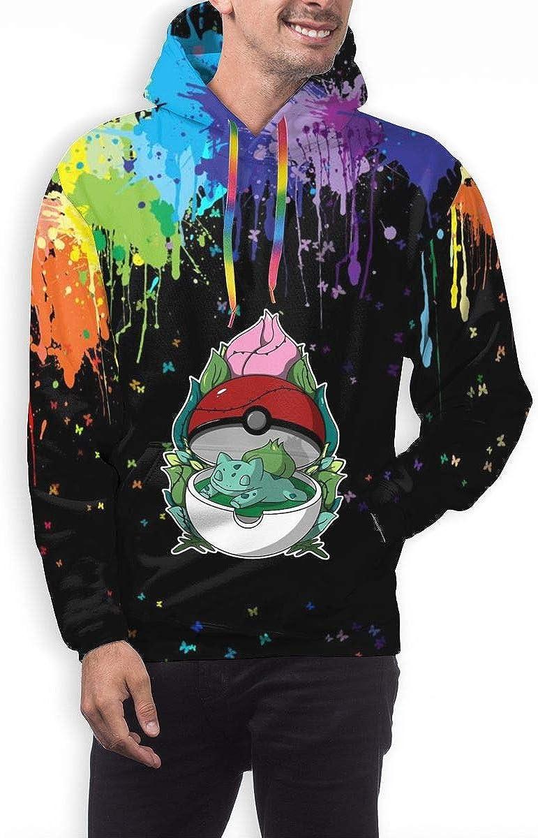 NOT Pikachu Bulbasuar Japanese Text Mens Hoodie Pullover 3D Printing Sweatshirt Hoodies Long Sleeve Sweatshirt