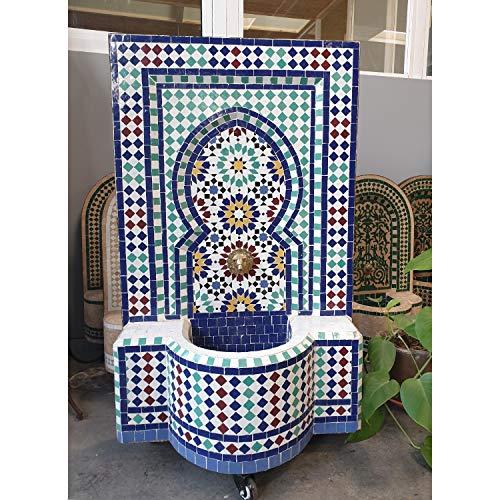 Casa Moro Marokkanischer Gartenbrunnen Mosaikbrunnen Ratila Türkis 110x65 cm (HöhexBreite) inklusive Pumpe & Transporträder Mosaik-Brunnen für Garten Balkon Terrasse Zimmer BR3020