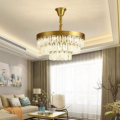 Araña de luces Cristal dorado dormitorio salón lámpara de cristal hierro forjado artesanal pasillo escalera hotel lámpara de techo 9 fuente de luz 60x60x30cm: Amazon.es: Iluminación