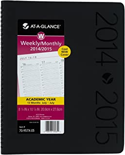 AT-A-GLANCE 2014–2015 Academic Year Contemporary Weekly and Monthly Appointment Book, Wirebound, Black, 8.25 x 10.88 Inch Page Size (70-957X-05)