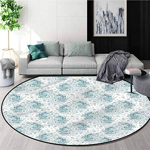 Best Review Of RUGSMAT Fish Area Rugs Ring 3D Non-Slip Rug,Simplistic Floral Petals Retro Non-Slip B...