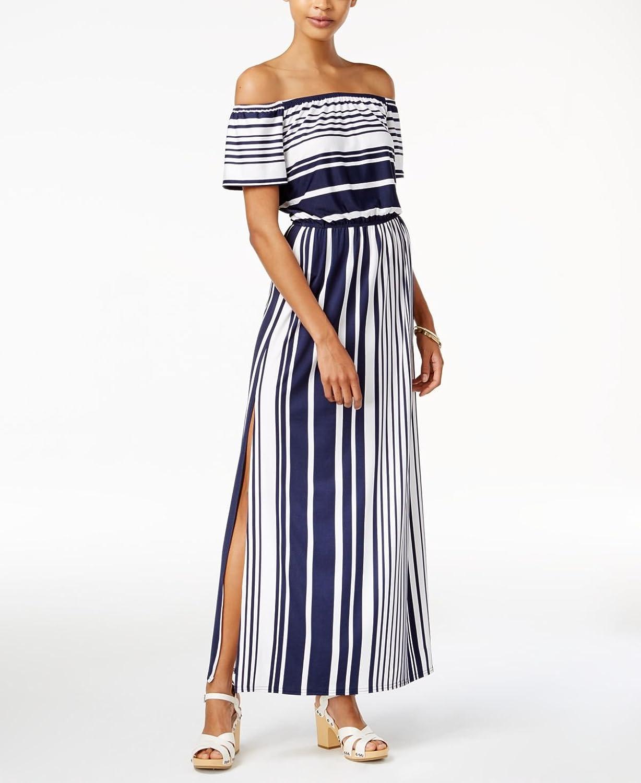 Bar Iii Womens Striped OffShoulder Dress