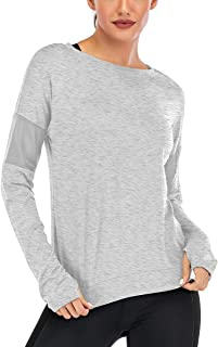 Fihapyli Long Sleeve Workout Shirts for Women Yoga Tops for Women Loose fit Yoga Shirts for Women with Thumb Hole