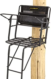 Rivers Edge RE654, Lockdown 2-Man Ladder Tree Stand, 17.5' Height with TearTuff Mesh Seat, 2-Way Adjustable Shooting Rail, Wide 40